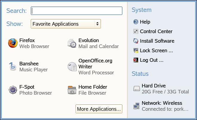 gnome main menu favorite application display