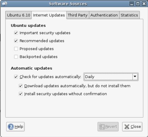 updates menu for software sources