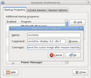 adding 'unclutter' to the sessions menu