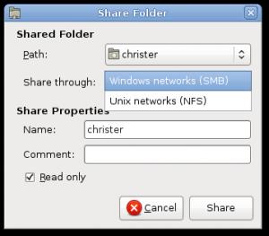 share folders via NFS or samba