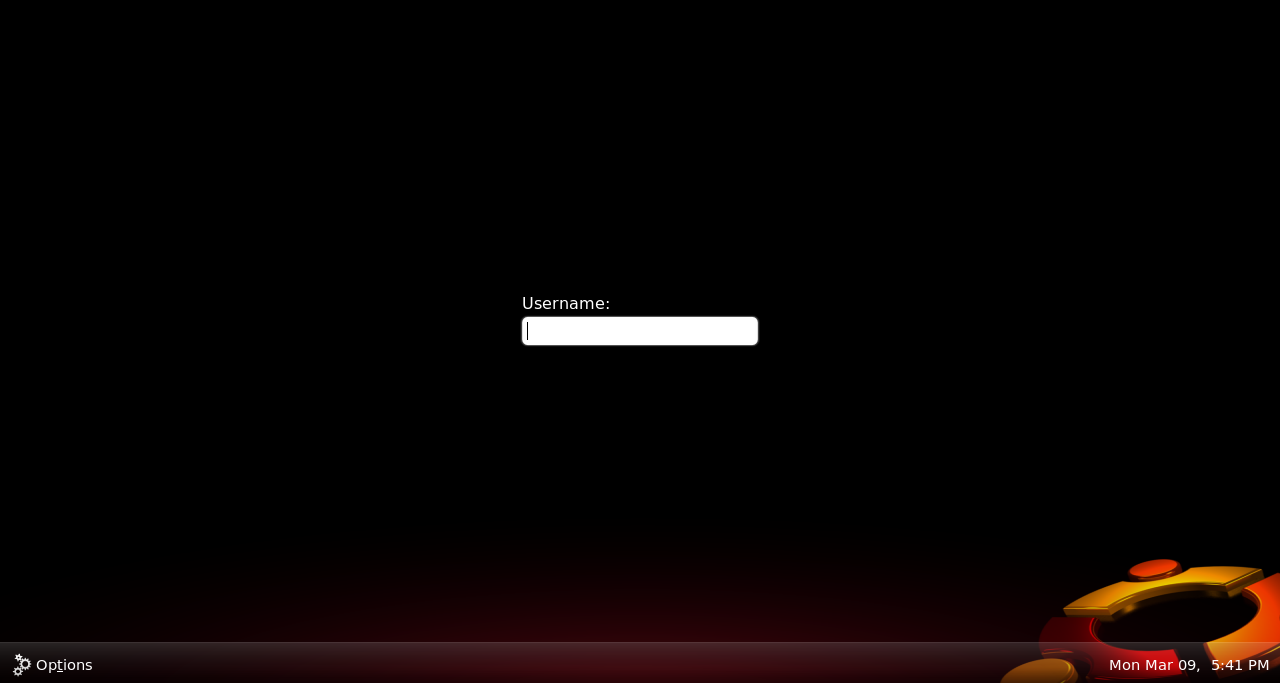 Ubuntu 9.04 GDM Login Screen
